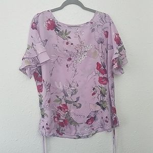 Maurices XL floral blouse strappy back flutter